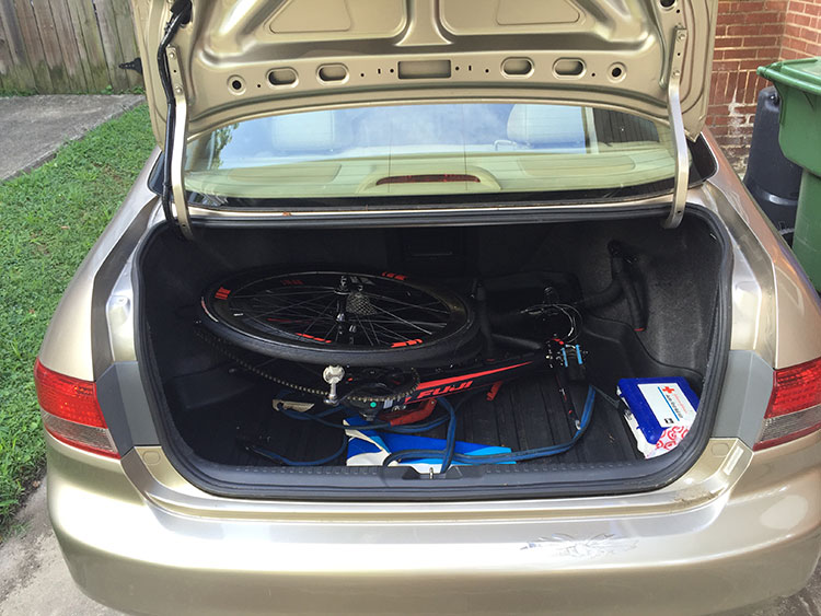 The SUV is the family car, so the sedan is now my getting to races car. BREAK THAT BIKE DOWN!!!