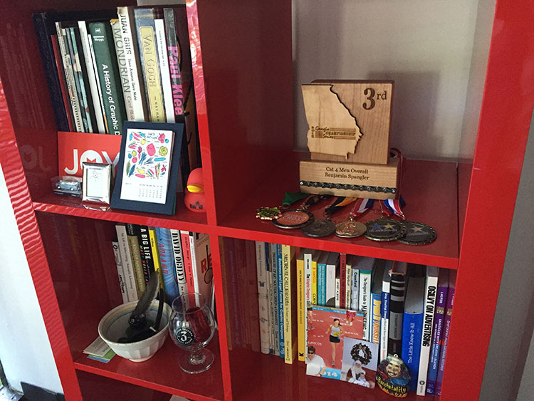 Awards shelf at the office.