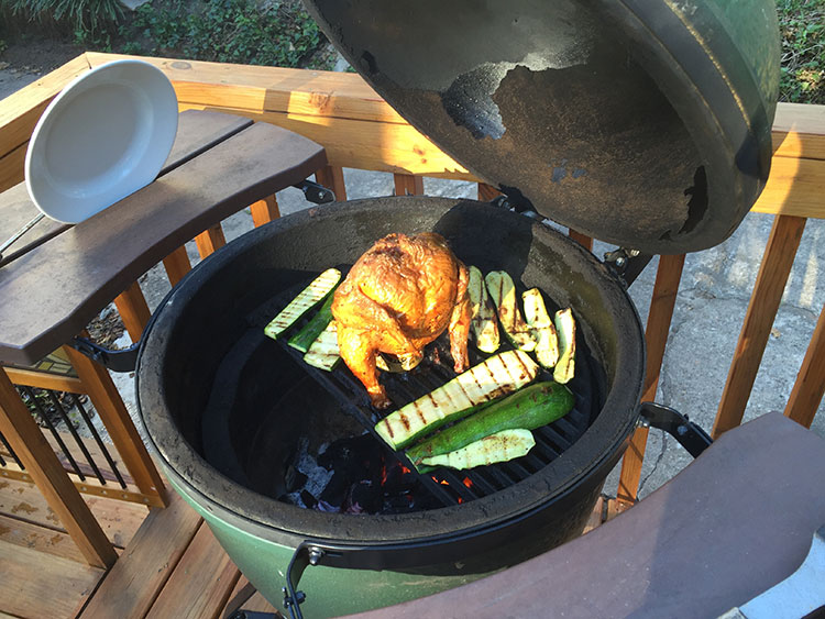 Beer can chicken and veggies on the Green Egg.