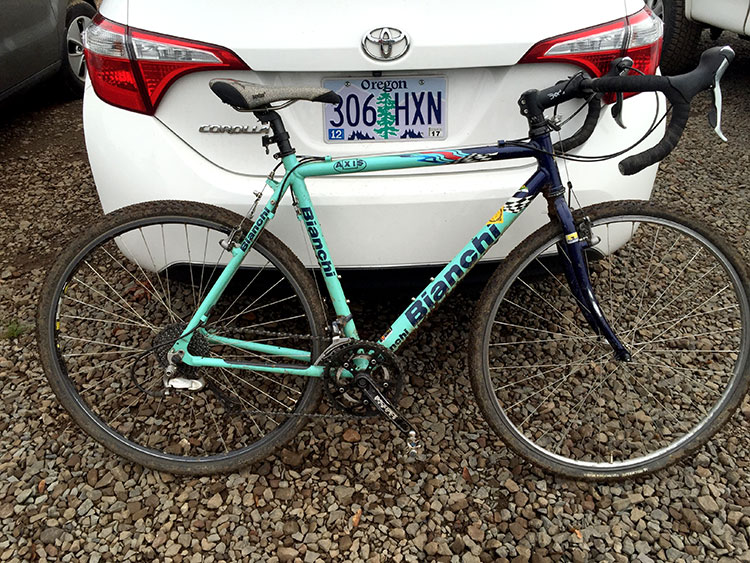 The Spinlister 2002 Bianchi I raced on.
