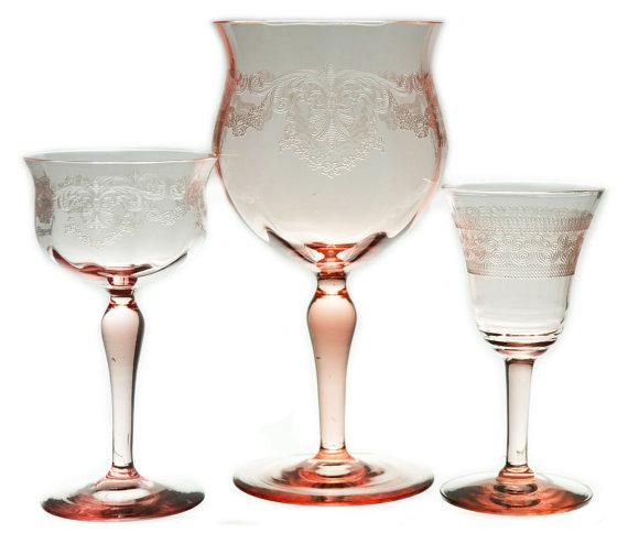 Vintage Blush Crystal Goblets $4/ea.