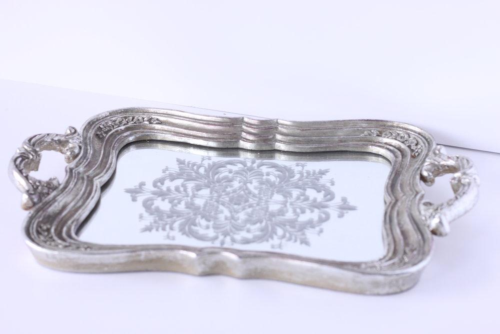 Silver mirrored handle tray $6/ea.