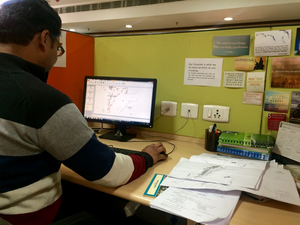 Shashwat making maps for a project interim report.