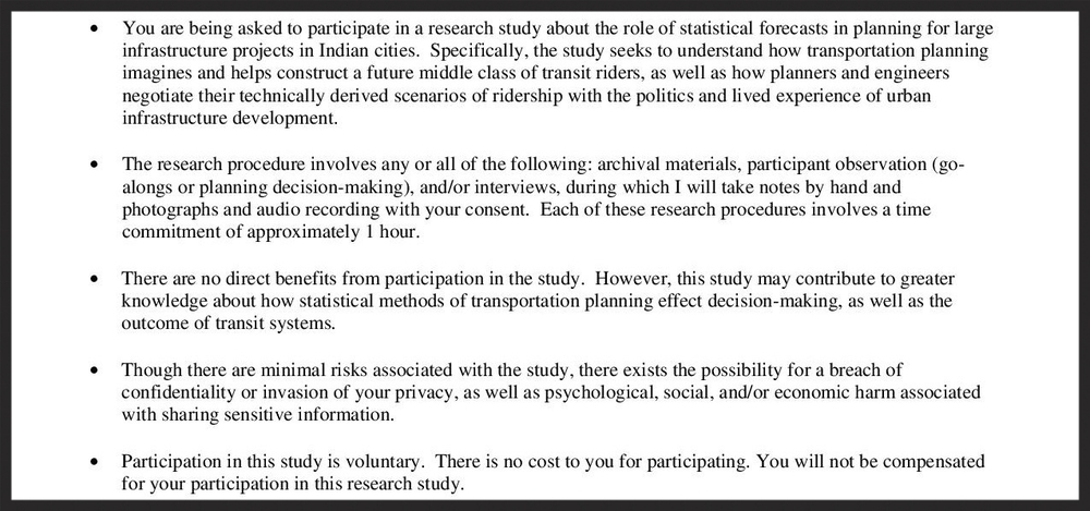 A snippet of my IRB-approved Study Information Sheet.