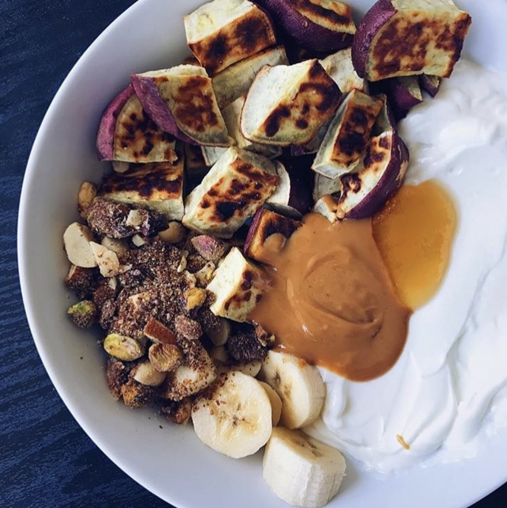 Chilled Breakfast Bowl    Chilled peanut butter blends with Coffee Blossom Honey and  accompanies  sweet potatoes, yogurt and a medley of nuts to create a balanced breakfast!   Recipe:  @beazybites   Photo:  @beazybites