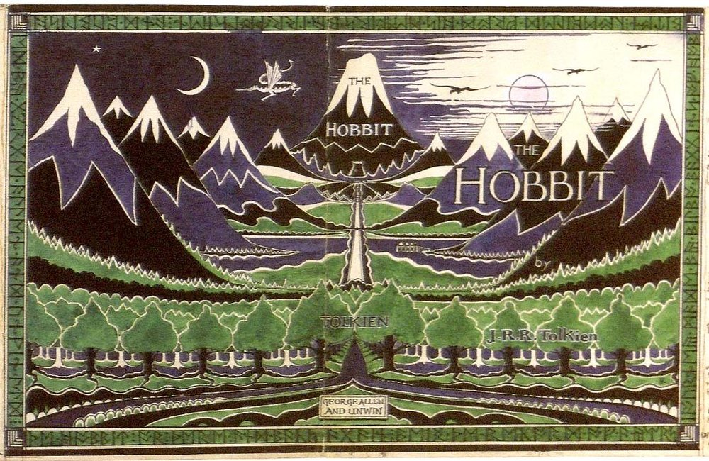 Dust-cover of the first edition of  The Hobbit , taken from a design by the author