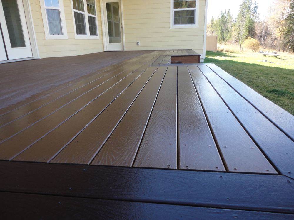 "Trex Select deck.  We typically ""picture frame"" the sides to hide cut edges"