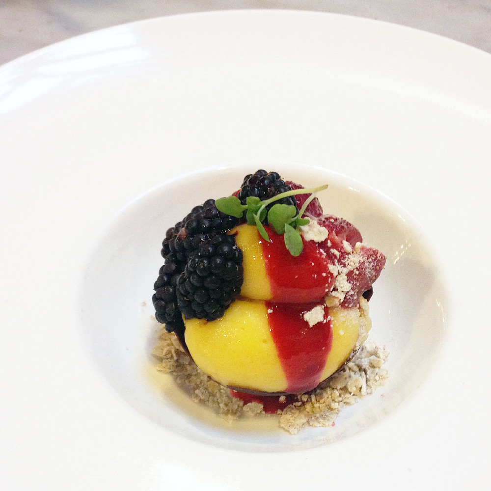 Chocolate crunch bowl filled with passion fruit sorbet, raspberry reduction, buckwheat crumble and fresh fruit