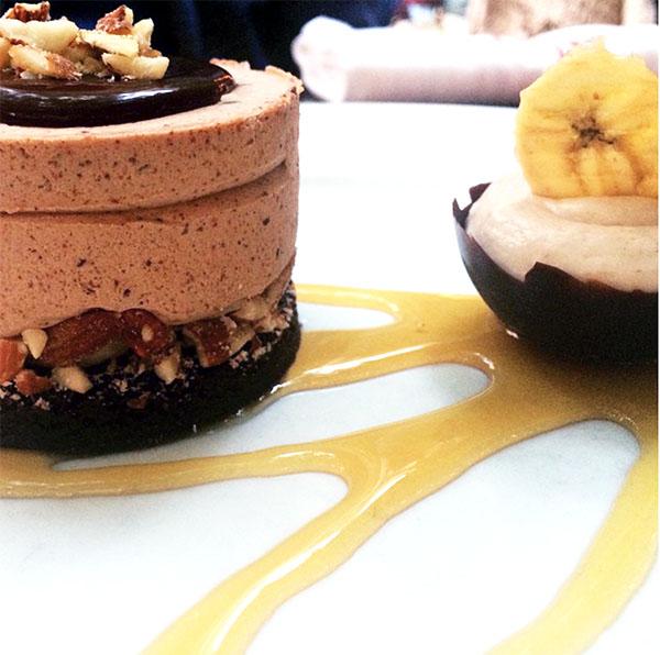 peanut butter ice cream cake, honey, chocolate bowl, banana cream, salted banana chips
