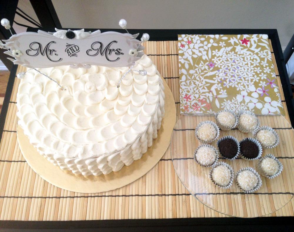 Engagement party: Lemon raspberry cake, brazilian doces: brigadiero and beijinho