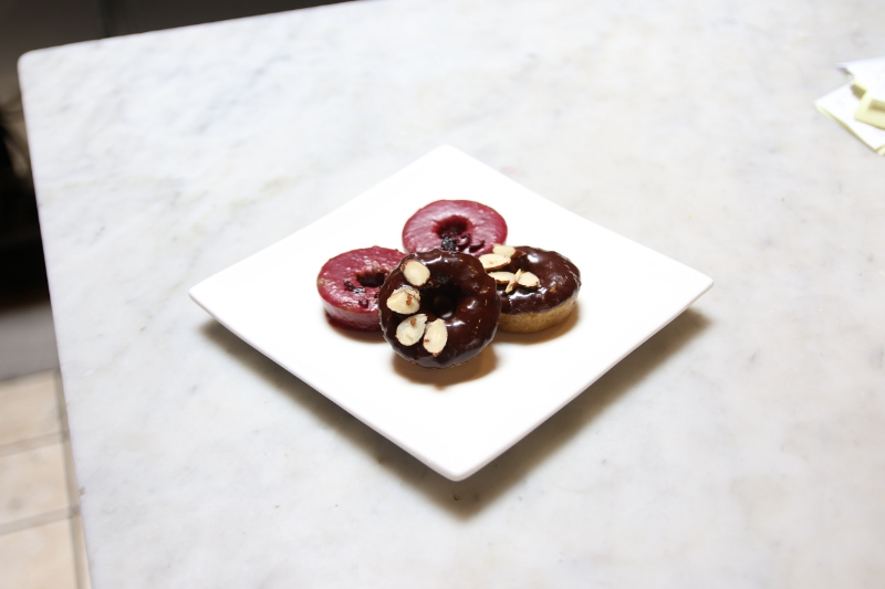 Hibiscus and chocolate almond doughnuts