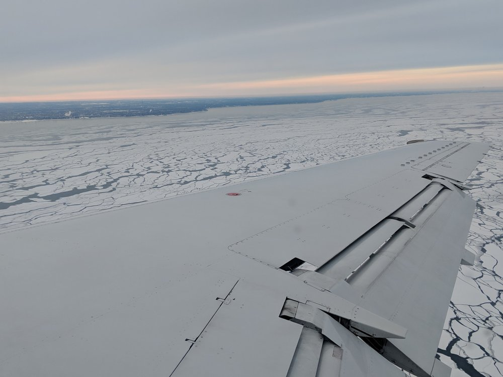 The frozen tundra…I mean, frozen over Lake Michigan, as seen on my flight home on 1/30/19.