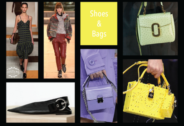 victoria beckham, isabel marant. shoe by céilne. purple bag: michael kors. green bag: marc jacobs. yellow bag: d&g.