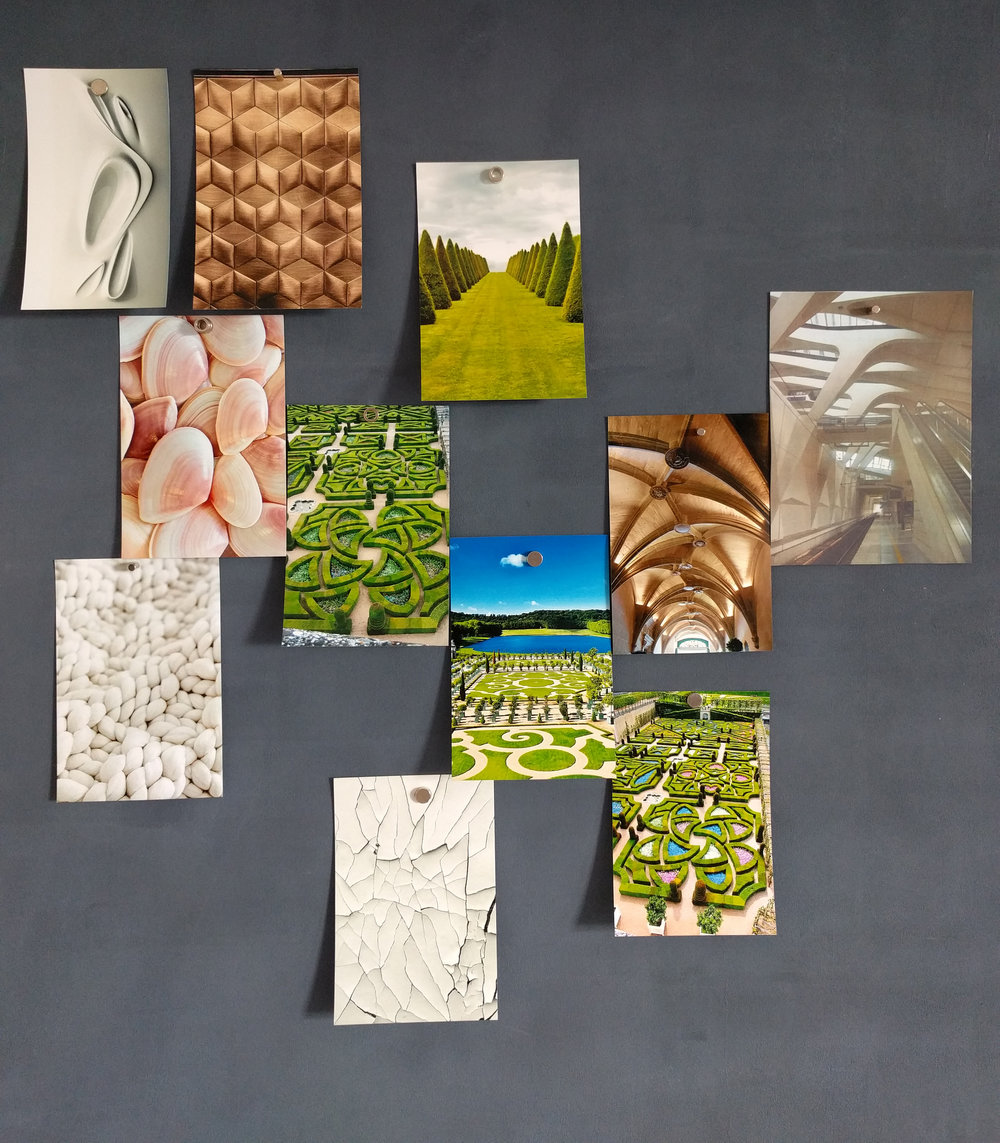"The original moodboard of the ""JARDIN FRANCAIS"" collection"
