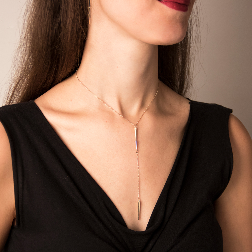"LARIAT necklace ""Diane"" Chain around the neck: 40cm (32cm + 8cm extension) length of the vertical element: 12.5cm"
