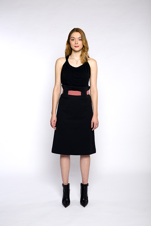 Justine-leconte-black-belted-skirt