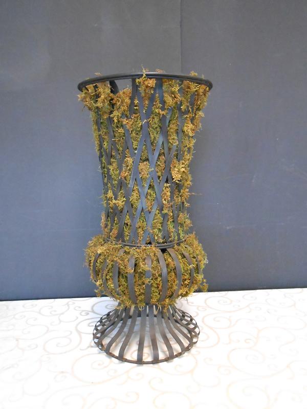 Metal strap urn tall