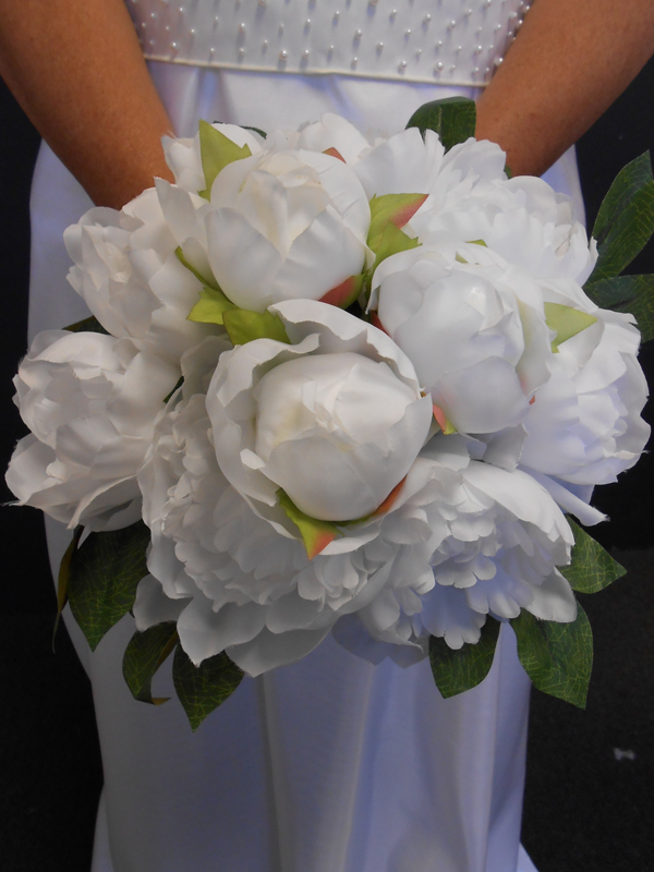 Bright white peonies bridal bouquet