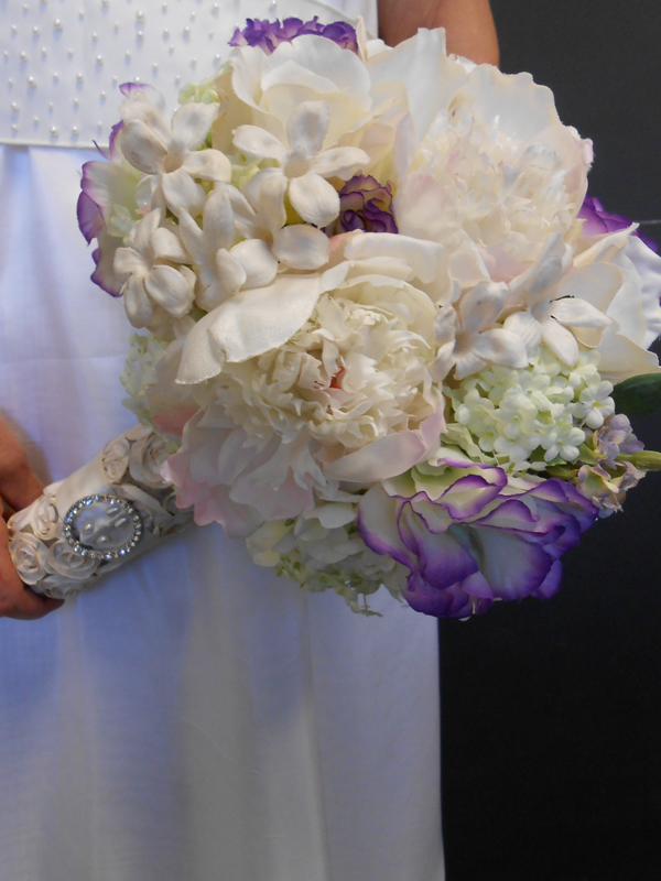 Fancy handle bridal bouquet in lavender and white