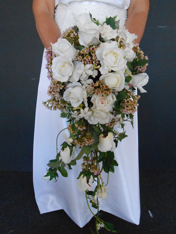 Bridal bouquet cascade with roses