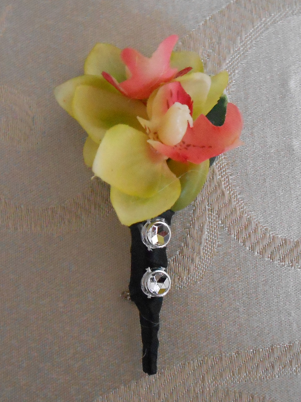 Green mini orchid boutonniere