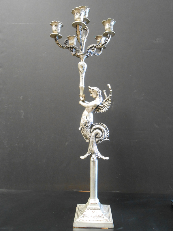 Silver mermaid candelabra