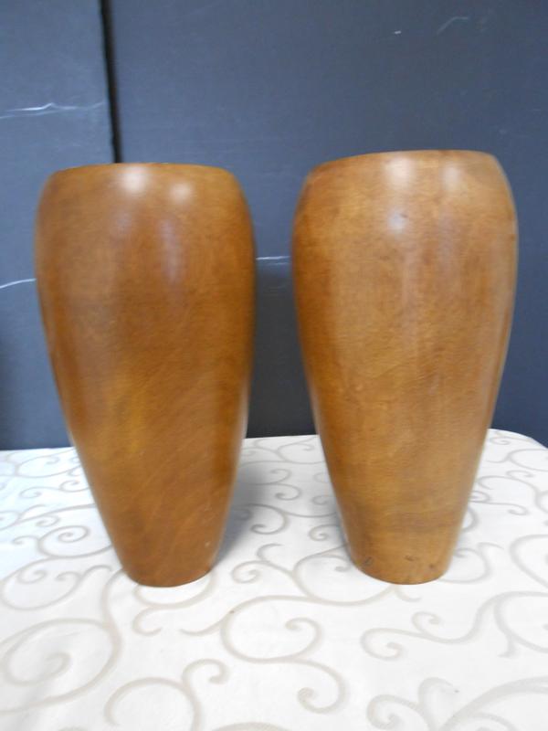 Tall wood vase