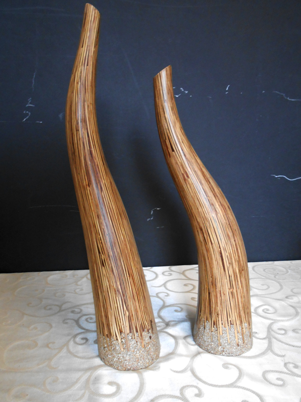 Freeform wood vases