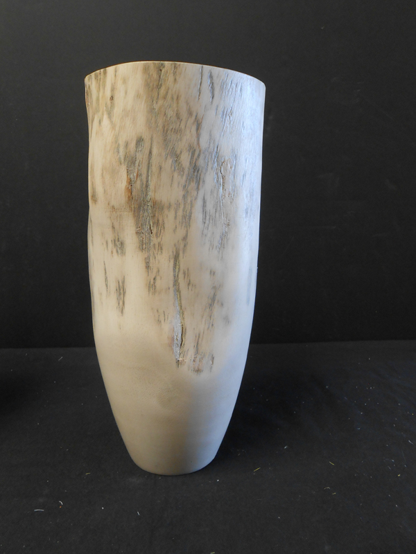 White natural wood vase