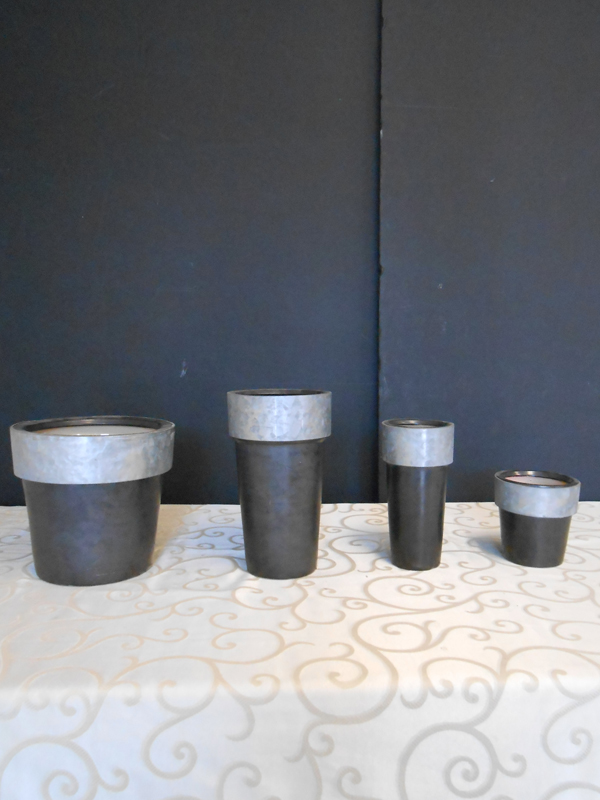 Black ceramic and zinc pot collection