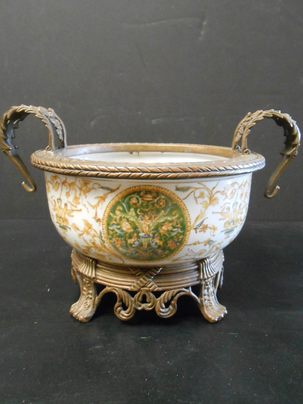 Floral Asian Ceramic bowl with handles