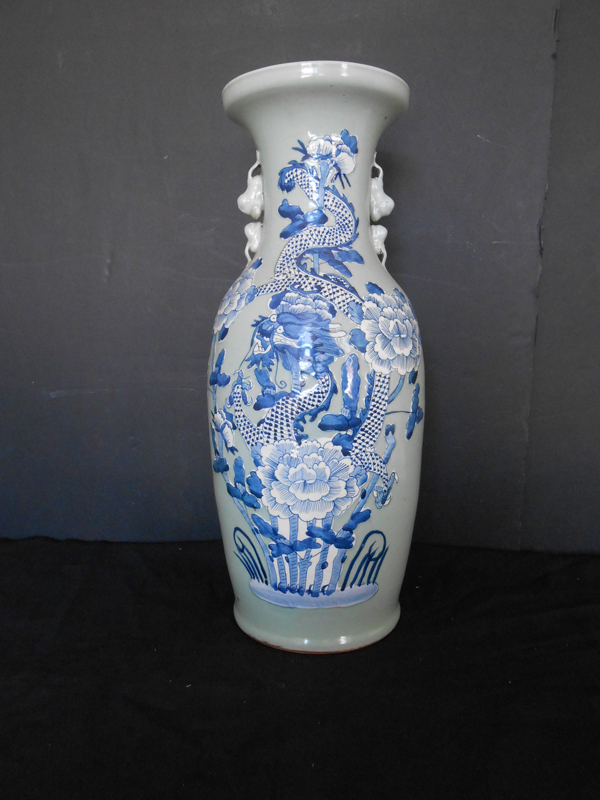 Blue and white floral Asian bottle