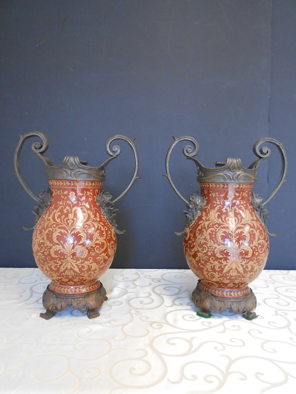 Rust Asian Ceramic scroll vase