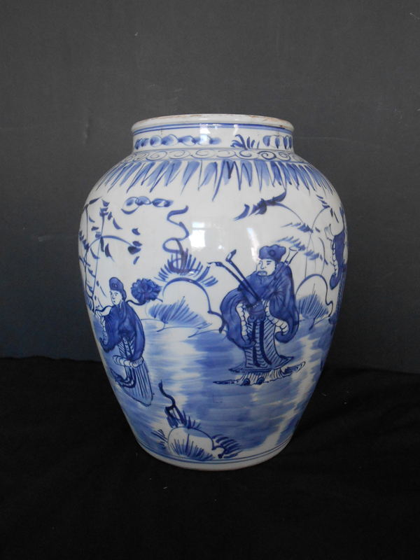 Blue and white Asian urn