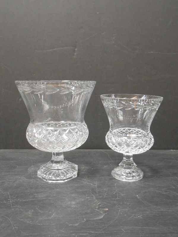 Footed cut crystal vase