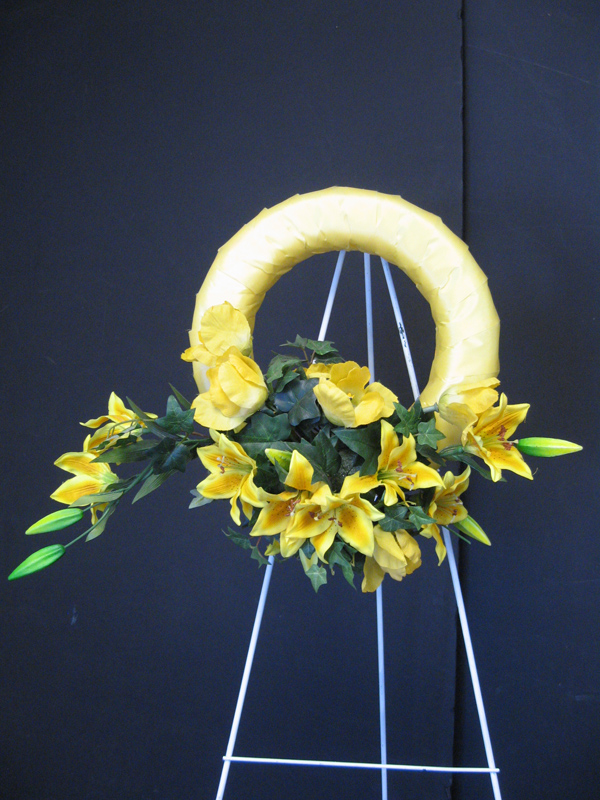Yellow lily wreath