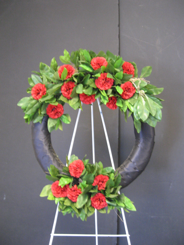 black and red wreath