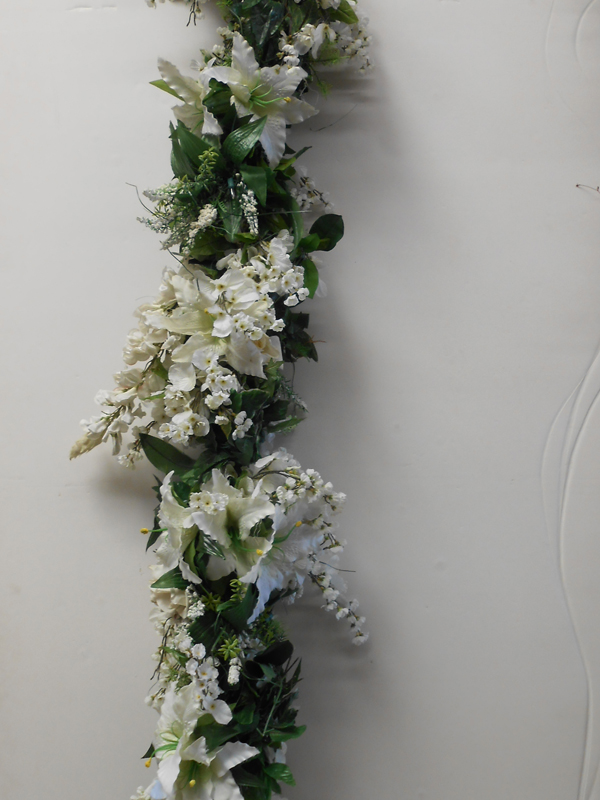 White and green mixed faux garland