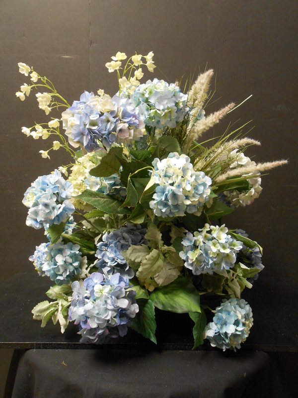 Pale blue hydrangea and white floral