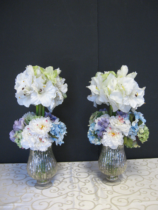 White and blue topiary florals