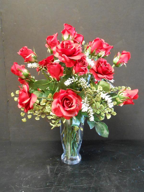 Vintage red rose floral