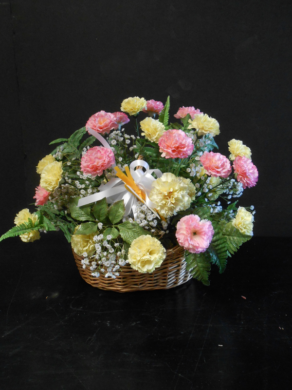 Vintage pink and yellow carnation basket