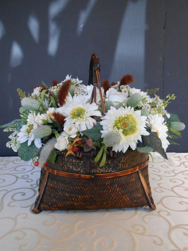 Vintage white daisy basket