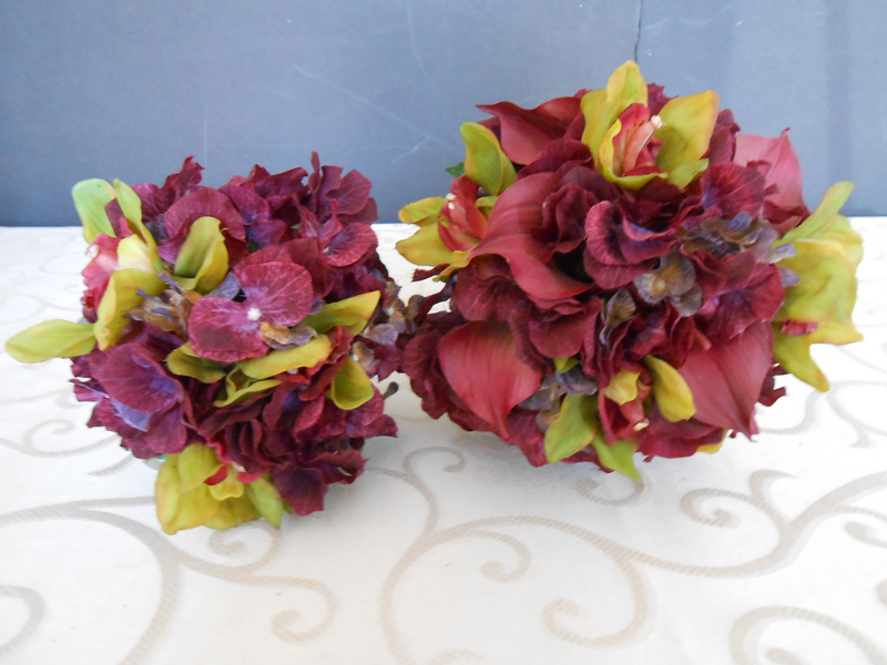 Lime green and burgundy wedding bouquet