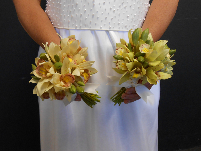 Mini cymbidium bridal bouquet