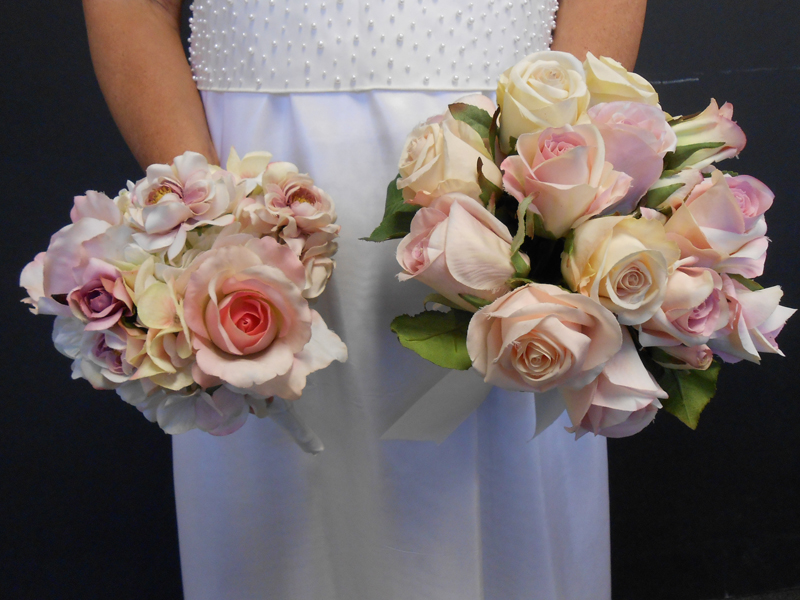 Pink and cream rose bouquet
