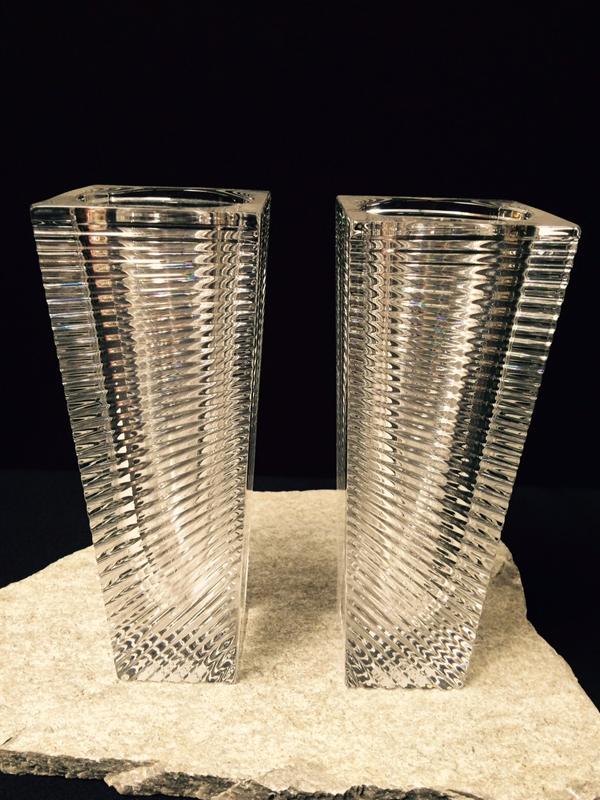 Modern Ribbed Crystal Vases
