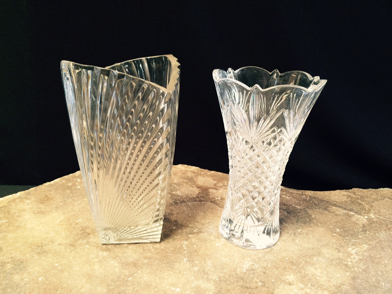 Heavy Cut Crystal Vases
