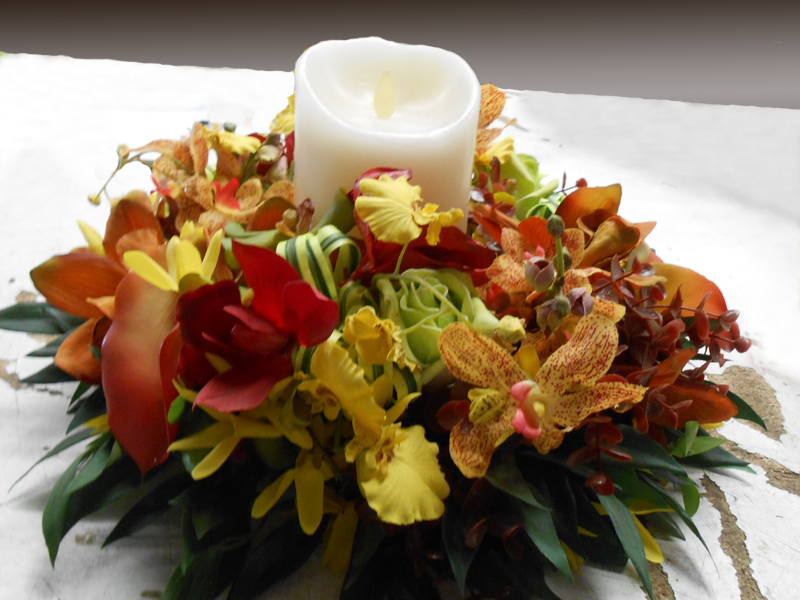 Autumn Centerpiece With Candle