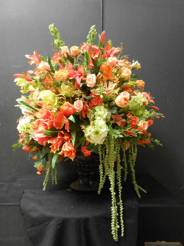 Large orange floral arrangement
